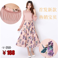 2013 summer women's long-sleeve bohemia full dress chiffon plus size one-piece dress