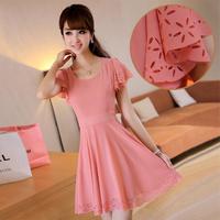 2013 summer plus size clothing summer short-sleeve slim women's cutout chiffon one-piece dress
