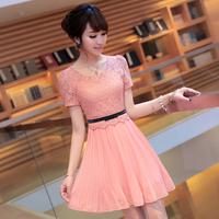 Pure 2013 summer women's slim elegant plus size lace chiffon one-piece dress short-sleeve dress
