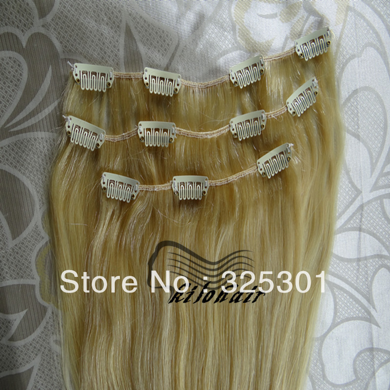 6pcs set clips in hair wefts 613# blonde silk full head brazilian remy clip-on hair extensions free shipping(China (Mainland))
