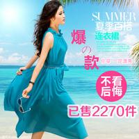 Ekdi2013 summer long design chiffon one-piece dress fairy  loose plus size dress full dress holidaying one-piece dress