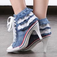 2014 new arrival denim heels fashion metal rivet boots denim canvas high heel sneakers lace up shoes