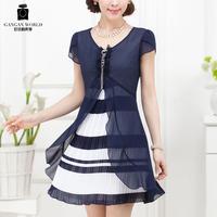 Chiffon one-piece dress summer high quality women's 2013 faux two piece set one-piece dress plus size 1401
