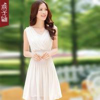 Women's summer 2013 sleeveless female  swallow summer slim white chiffon one-piece dress