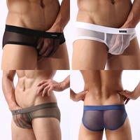 Free shipping Sexy mens transparent underwear Low rise pouch brief mesh nylon fishnet men's briefs See through penis underware
