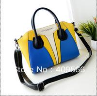 Smiley color block bag 2013 new hot fashion women's handbags messenger bag pu leather high quality tote Flying Bear