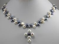 Free shipping Fashion women jewelry Zinc Alloy Black& White Akoya Cultured Pearl Cross Pendant Necklace