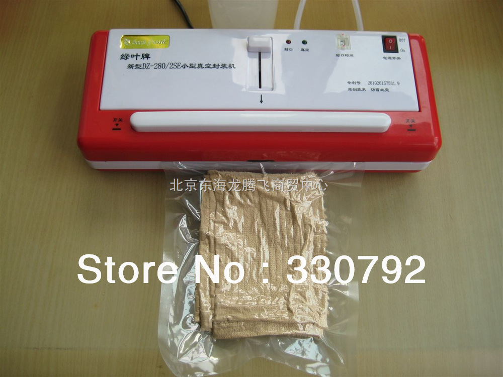 DHL Free Shipping Household Vacuum Food Sealer DZ280-2SE110V + 100pcs plastic bags + 1 set easy broken parts(China (Mainland))