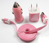 NEW Pink wall Car Charger Micro USB Cable for Samsung Galaxy S2 S3 S4 HTC B08