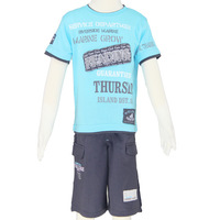 Clothing sets children 2014 boy's clothing sky blue short t-shirt and boy's short pants sport size 6-14 Free Shipping 2482K5