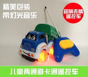 Channel remote control car cartoon remote control car garbage truck musical toy