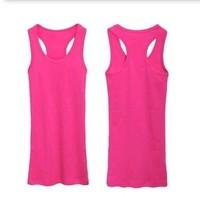 Spaghetti strap small vest t-shirt tank female 100% cotton basic vest long short design 3  (free shipping)
