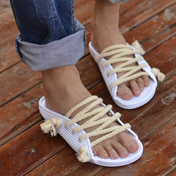 Slippers male slippers hemp rope sandals lovers slippers summer fashion male slippers(China (Mainland))