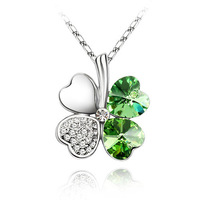 PDRN-YG586,Crystal Pendant Necklace,fashion jewelry,Four Leaf clover, Austrian crystal ,wholesale