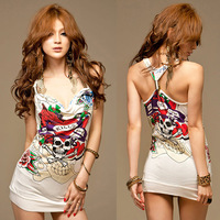 2013 summer sexy low-cut dress women's tank slim hip slim one-piece dress