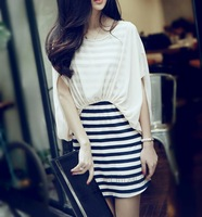2013 spring and summer women's faux two piece stripe batwing sleeve slim chiffon one-piece dress summer