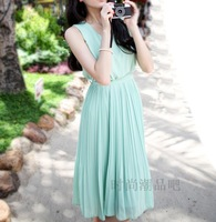 2013 women's summer tank dress gentlewomen skirt chiffon sleeveless vest chiffon one-piece dress
