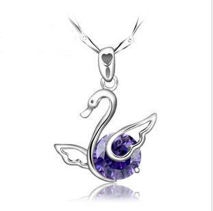 Min order is 10usd (mix order) Wholesale!925 sterling silver necklace Amethyst pendant necklace Swan! Fashion Jewelry For Women