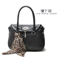 PU bag   portable one shoulder cross-body bags  black female handbag  silk scarf is as gift