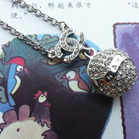 factory price ! women's charm crystal pendant necklace 925 silver plated chain sweater chain