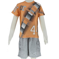 Sets for boys summer 2014 fashion orange short t-shirts and sport short pants wholesale/retail size 6-14 Free Shipping 2550K4