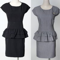 Summer OL outfit work wear set summer one-piece dress summer mm plus size clothing corsage