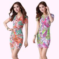 New arrival summer women's 13 slim ol slim hip elegant V-neck short-sleeve print one-piece dress