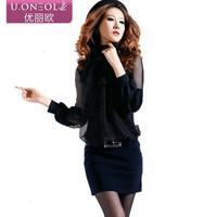2013 long-sleeve gauze summer one-piece dress work wear formal ol mature women's fashion slim faux two piece