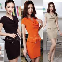 Work wear ol white collar elegant one-piece dress slim hip formal professional women's 1331