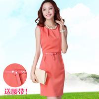 2013 women's summer elegant OL outfit slim one-piece dress sleeveless basic tank dress