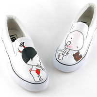 Strapless low hand-painted shoes painted shoes lovers shoes women's shoes