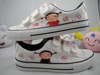 Hand-painted shoes velcro canvas shoes female shoes lazy casual shoes male shoes