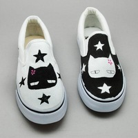 Black and white cat strapless low hand-painted shoes canvas shoes female shoes lazy casual male shoes
