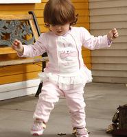 Killer loop rabbit 2013 spring pink gauze rabbit set child clothes 100% cotton baby clothes girls clothing
