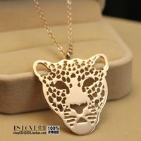Classic long and short Jaguar necklace t long design vintage 14k rose gold titanium necklace