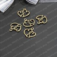 (J-M1050)Alloy Findings,charm pendants,Antiqued style bronze tone 19*16MM Double Heart 50PCS