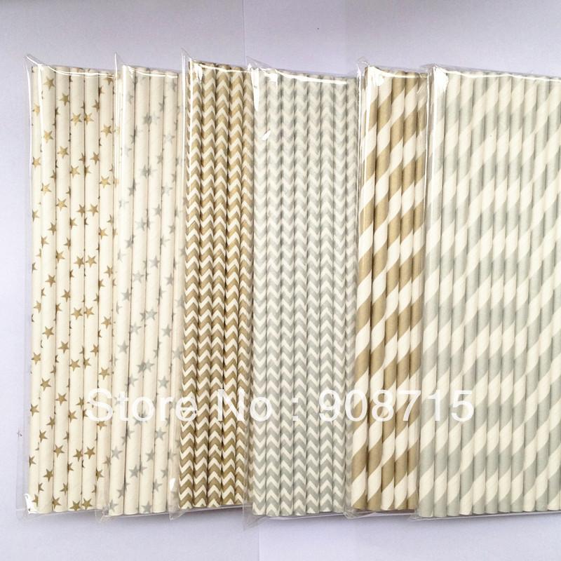 Striped Straws Paper Paper Straws Gold Silver