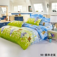 Free Shipping 100% Cotton PrintED Bed Sheets 4pcs Bedding Set duvet cover set BEDDING COMFORTER COVER