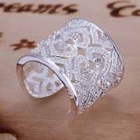 R106 Inlaid Multi Heart Ring-Silvery-Opened 925 silver ring,high quality ,fashion jewelry, Nickle free,antiallergic