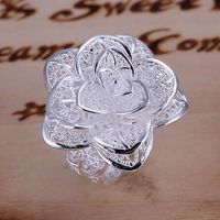 Free Shipping R116 Flower Ring 925 silver ring,high quality ,fashion jewelry, Nickle free,antiallergic