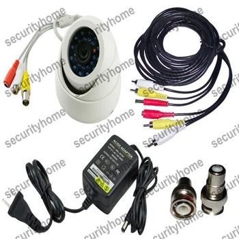 CMOS 600TVL 24IR security Video Dome CCTV camera with Audio+5M A/V cable+ Power supply