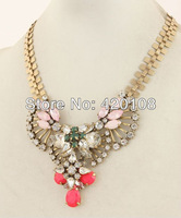 2013 Summer New Arrival  Free Shipping JC Crystal Flower Color Mix Gem Glass Stone Rhinestone Statement Beaded Bib Necklace