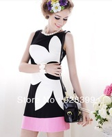 2013 Summer New Black And White Mosaic Slim Rose Pink Flowers Sleeveless A-type Dress S M L