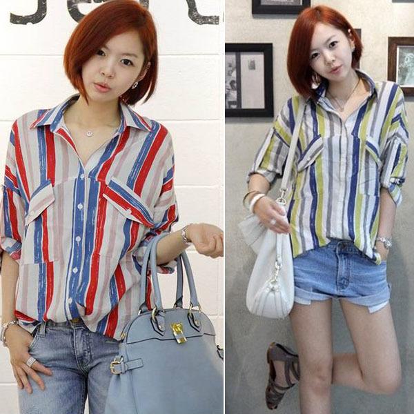 новых корейских женщин блузки длинные кнопку