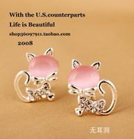 2013 pink rhinestone kitten stud earring no pierced cushiest earrings earring female