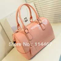2013  japanned leather candy color one shoulder cross-body handbag women's bucket bag lock