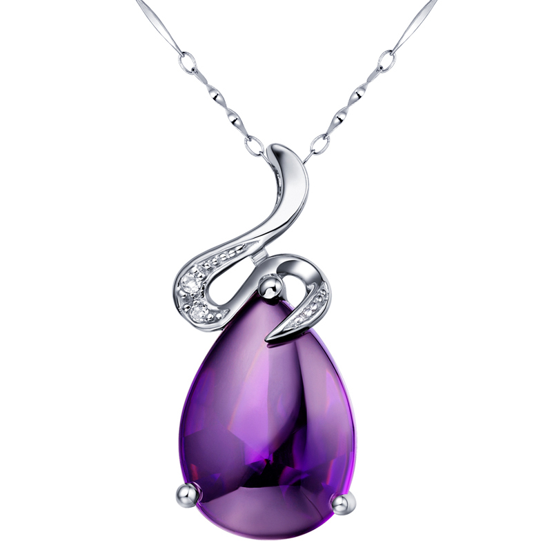 925 pure silver amethyst pendant necklace birthday present for girlfriend gifts short design female(China (Mainland))
