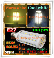 FedEX Free shipping 100 pcs 15W SMD 5630 60 LED E27 E14 B22 AC110-240V Corn Bulb Light Maize Lamp LED lighting Warm/Cool white