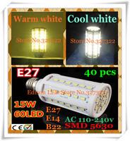 FedEX Free shipping 40 pcs 15W SMD 5630 5730 60 LED E27 E14 B22 AC110-240V LED Corn Bulb Light Maize Lamp SMD Spotlight lighting