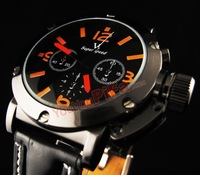 2 Colors Shiny Luxury Winner Men's Automatic Mechanical Quartz Watch Orange/White Dial Hour Metal Screw Design Retro Style